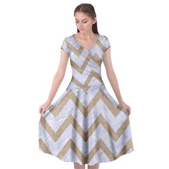 CHEVRON9 WHITE MARBLE & SAND (R) Cap Sleeve Wrap Front Dress