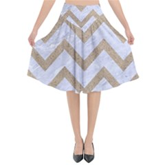 CHEVRON9 WHITE MARBLE & SAND (R) Flared Midi Skirt