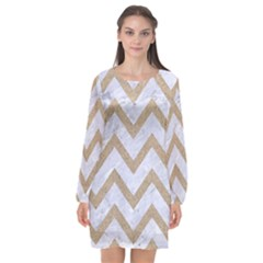 CHEVRON9 WHITE MARBLE & SAND (R) Long Sleeve Chiffon Shift Dress