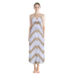 CHEVRON9 WHITE MARBLE & SAND (R) Button Up Chiffon Maxi Dress