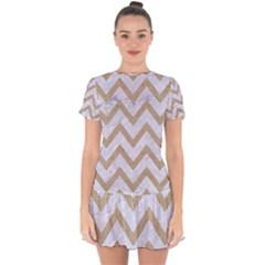 Chevron9 White Marble & Sand (r) Drop Hem Mini Chiffon Dress