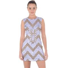 CHEVRON9 WHITE MARBLE & SAND (R) Lace Up Front Bodycon Dress