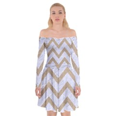CHEVRON9 WHITE MARBLE & SAND (R) Off Shoulder Skater Dress