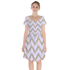 CHEVRON9 WHITE MARBLE & SAND (R) Short Sleeve Bardot Dress