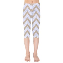 CHEVRON9 WHITE MARBLE & SAND (R) Kids  Capri Leggings