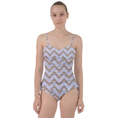 CHEVRON9 WHITE MARBLE & SAND (R) Sweetheart Tankini Set