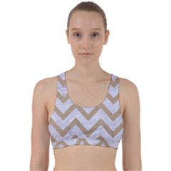 CHEVRON9 WHITE MARBLE & SAND (R) Back Weave Sports Bra