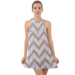 CHEVRON9 WHITE MARBLE & SAND (R) Halter Tie Back Chiffon Dress