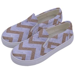 CHEVRON9 WHITE MARBLE & SAND (R) Kids  Canvas Slip Ons
