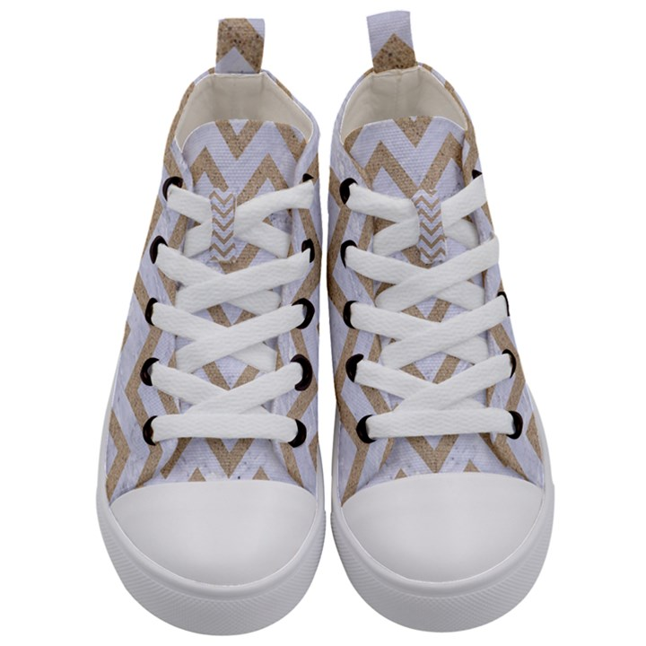 CHEVRON9 WHITE MARBLE & SAND (R) Kid s Mid-Top Canvas Sneakers