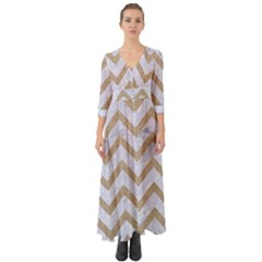 CHEVRON9 WHITE MARBLE & SAND (R) Button Up Boho Maxi Dress