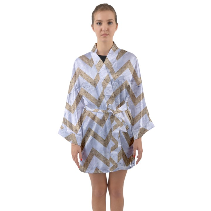 CHEVRON9 WHITE MARBLE & SAND (R) Long Sleeve Kimono Robe