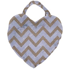 CHEVRON9 WHITE MARBLE & SAND (R) Giant Heart Shaped Tote