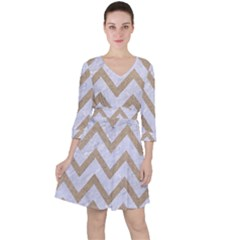 CHEVRON9 WHITE MARBLE & SAND (R) Ruffle Dress
