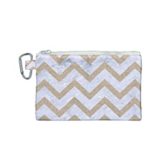 Chevron9 White Marble & Sand (r) Canvas Cosmetic Bag (small)