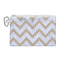 CHEVRON9 WHITE MARBLE & SAND (R) Canvas Cosmetic Bag (Large)