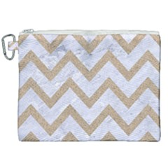 CHEVRON9 WHITE MARBLE & SAND (R) Canvas Cosmetic Bag (XXL)