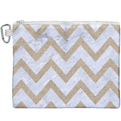 CHEVRON9 WHITE MARBLE & SAND (R) Canvas Cosmetic Bag (XXXL)
