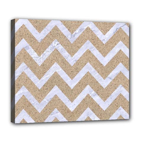 Chevron9 White Marble & Sand Deluxe Canvas 24  X 20