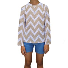 Chevron9 White Marble & Sand Kids  Long Sleeve Swimwear