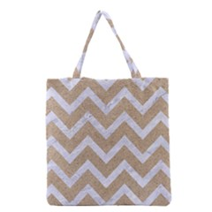 Chevron9 White Marble & Sand Grocery Tote Bag
