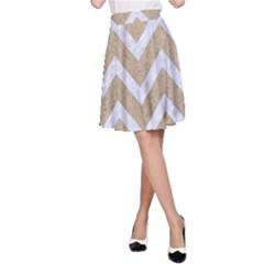 CHEVRON9 WHITE MARBLE & SAND A-Line Skirt