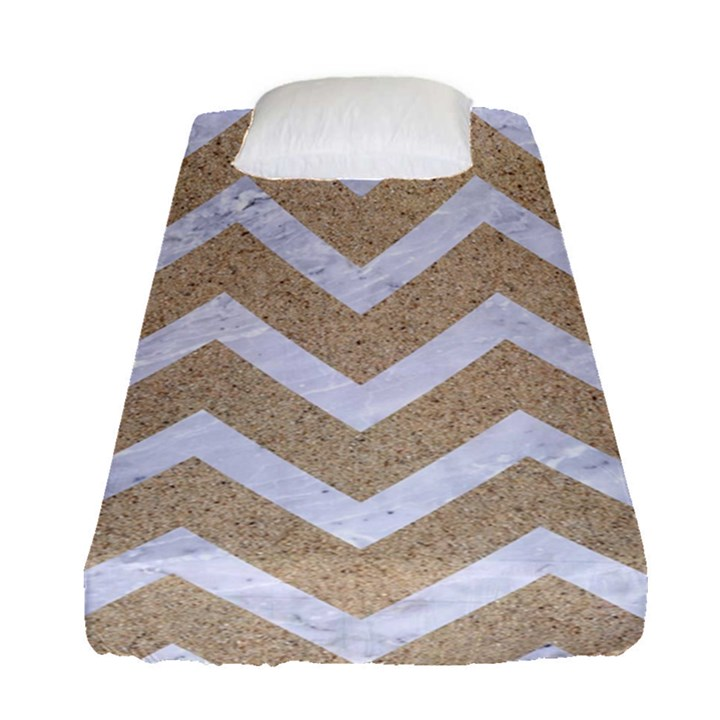 CHEVRON9 WHITE MARBLE & SAND Fitted Sheet (Single Size)