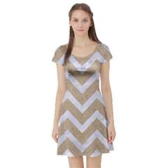 CHEVRON9 WHITE MARBLE & SAND Short Sleeve Skater Dress