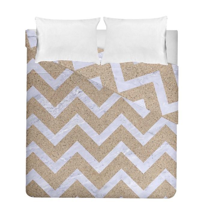 CHEVRON9 WHITE MARBLE & SAND Duvet Cover Double Side (Full/ Double Size)