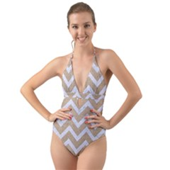 Chevron9 White Marble & Sand Halter Cut Out One Piece Swimsuit