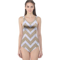 Chevron9 White Marble & Sand One Piece Swimsuit