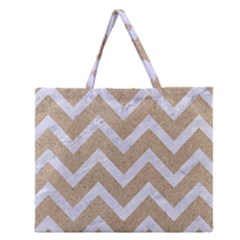 Chevron9 White Marble & Sand Zipper Large Tote Bag by trendistuff
