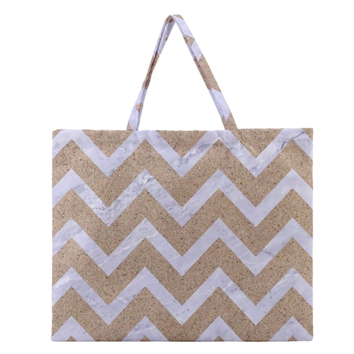 CHEVRON9 WHITE MARBLE & SAND Zipper Large Tote Bag
