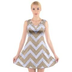 Chevron9 White Marble & Sand V Neck Sleeveless Skater Dress