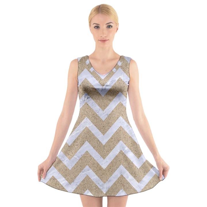 CHEVRON9 WHITE MARBLE & SAND V-Neck Sleeveless Skater Dress