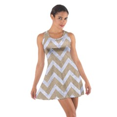 Chevron9 White Marble & Sand Cotton Racerback Dress