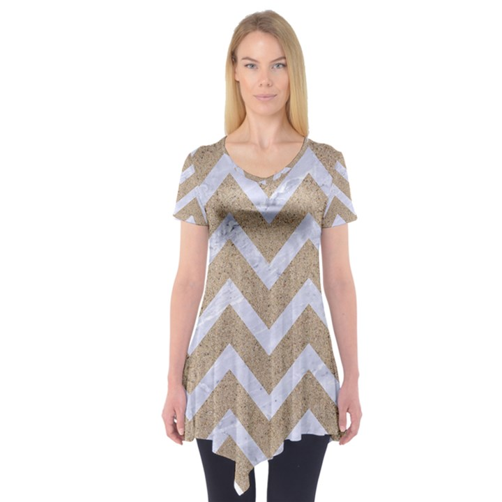 CHEVRON9 WHITE MARBLE & SAND Short Sleeve Tunic
