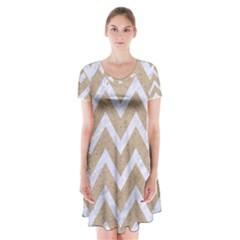 CHEVRON9 WHITE MARBLE & SAND Short Sleeve V-neck Flare Dress