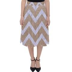 CHEVRON9 WHITE MARBLE & SAND Folding Skater Skirt
