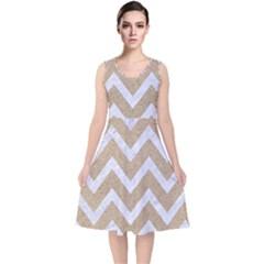 CHEVRON9 WHITE MARBLE & SAND V-Neck Midi Sleeveless Dress
