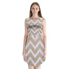 CHEVRON9 WHITE MARBLE & SAND Sleeveless Chiffon Dress