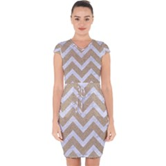CHEVRON9 WHITE MARBLE & SAND Capsleeve Drawstring Dress