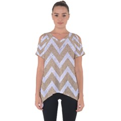 Chevron9 White Marble & Sand Cut Out Side Drop Tee