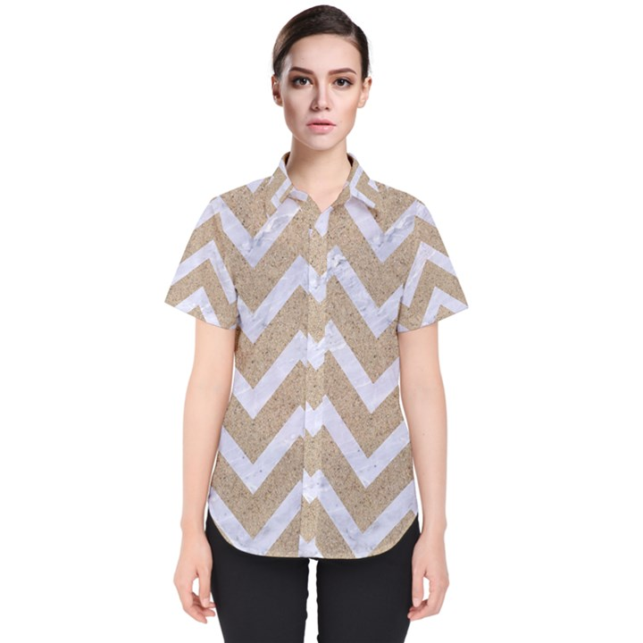 CHEVRON9 WHITE MARBLE & SAND Women s Short Sleeve Shirt
