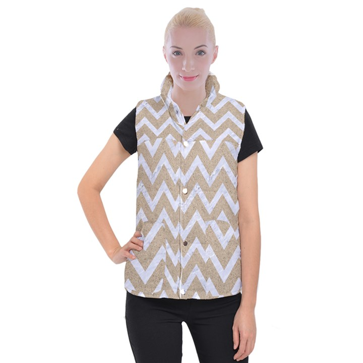 CHEVRON9 WHITE MARBLE & SAND Women s Button Up Vest