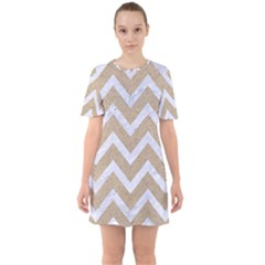 CHEVRON9 WHITE MARBLE & SAND Sixties Short Sleeve Mini Dress
