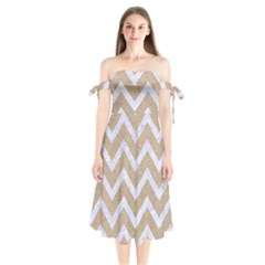 CHEVRON9 WHITE MARBLE & SAND Shoulder Tie Bardot Midi Dress