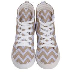 Chevron9 White Marble & Sand Men s Hi Top Skate Sneakers