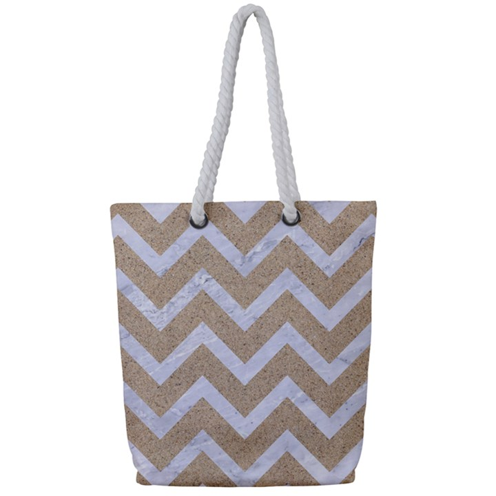 CHEVRON9 WHITE MARBLE & SAND Full Print Rope Handle Tote (Small)