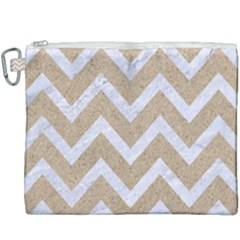 Chevron9 White Marble & Sand Canvas Cosmetic Bag (xxxl)